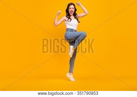 Full Length Photo Of Crazy Cheerful Lady Good Mood Raise Fists Yelling Loud Support Football Team We