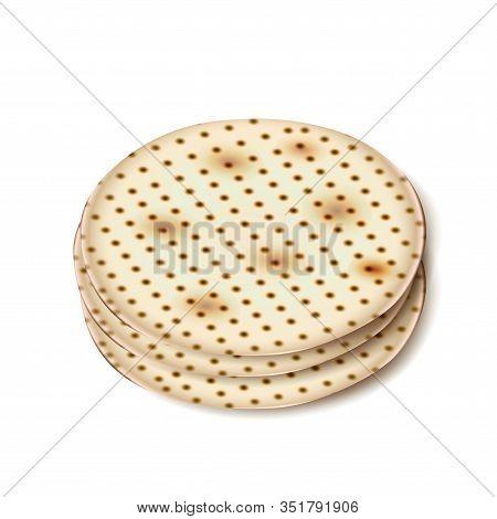 Matzah - Jewish Traditional bread for passover seder party Jewish holiday, round matza, matzah, matzo, matzoh, matzot, icon isolated on white label symbol vector illustration