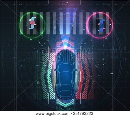 Automatic Braking System Avoid Car Crash From Car Accident. Driverless Or Self Driving Car At Road.