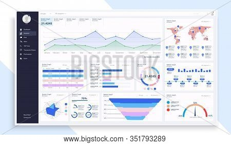 Dashboard, Great Design For Any Site Purposes. Business Infographic Template. Vector Flat Illustrati