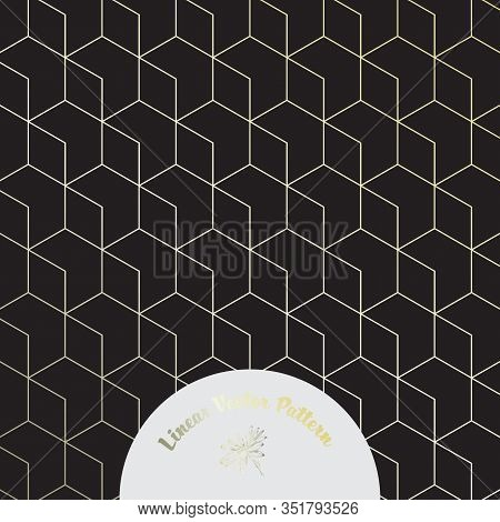 Geometric Vector Pattern, Repeating Linear Hexagon And Diamond Shape On Dark Background. Pattern Cle