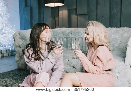 Girls Fooling Around Together.good-humoured Lady, Best Friend. Glamorous Caucasian Girls Preparing F