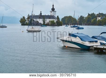 Gmunden, Austria - September 2018: View On Schloss Ort From Traunsee Lake Promenade
