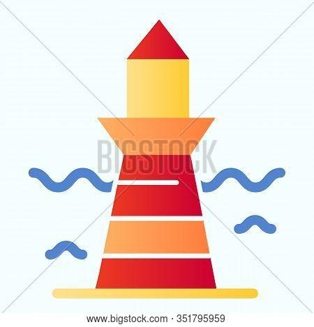 Lighthouse And Wave Flat Icon. Marine Beacon Illustration Isolated On White. Navigation Pharos Gradi