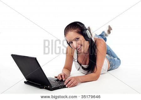 Beautiful Young Woman With Laptop