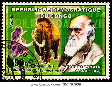 Moscow, Russia - February 19, 2020: Stamp Printed In Congo, Shows Charles Robert Darwin (1809-1882),