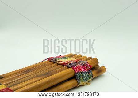 Zampoña. Peruvian Pan Flute Isolated On A White Background. Andean Music. Concept Musical Instrument