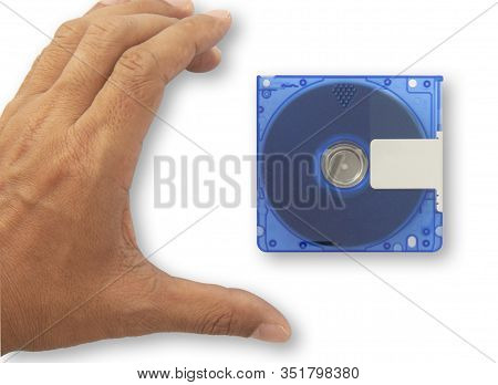 Isolate Used Blue Mini Disc Md And Hand Going To Pick Up. Put On White Background For Data And Music