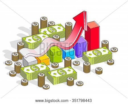 Success And Income Increase Concept, Growth Chart Stats Bar With Cash Money Stack Isolated On White