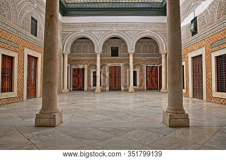 Tunis, Tunisia - December 31 2019: The Impressive Inner Courtyard Of Dar Lasram Palace, A Well Prese
