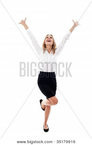 Pretty Young Woman With Arms Raised Isolated
