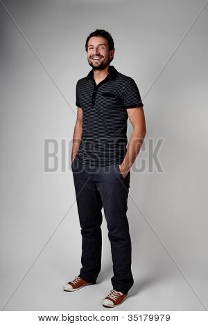 Casual Young Man Full Body Portrait