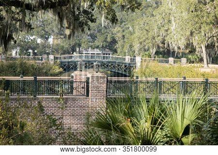 View of bridges and woods in Palmetto Bluff near Bluffton, South Carolina, USA.
