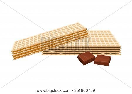 Rectangular Chocolate Wafers With Textured Surface Vector Illustration
