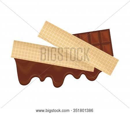 Rectangular Chocolate Wafers With Textured Surface Top View Vector Illustration