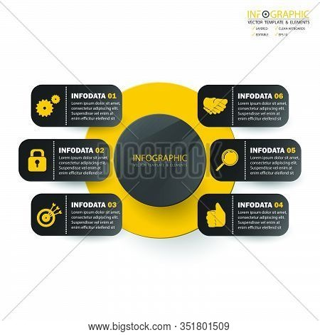 Vector Abstract Element Infographics 6 Step. Design For Business Finance Template Layout, Brochure,