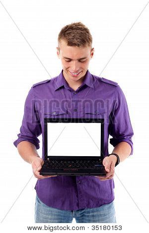Young Man With Open Laptop. Isolated