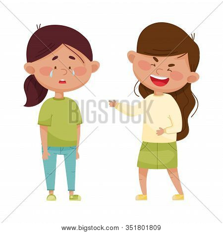 Little Girl Teasing And Laughing At Her Crying Agemate Vector Illustration