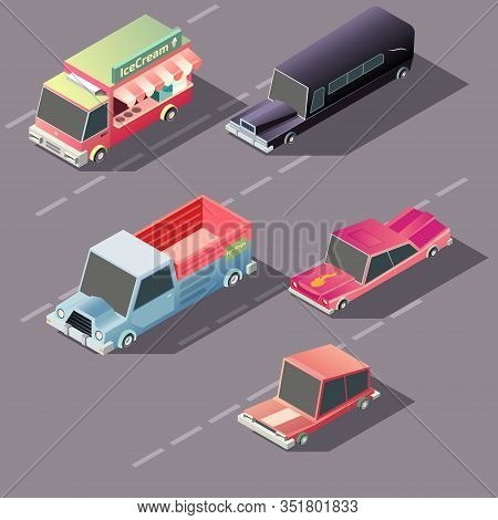 Various Passenger, Business And Cargo Retro Cars Moving On Highway Isometric Projection . Ice Cream