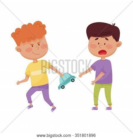 Little Boy With Grin On His Face Taking Away Toy Car From His Agemate Vector Illustration
