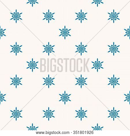 Vector Geometric Snowflakes Seamless Pattern. Minimalist Winter Texture With Small Blue Snow Flakes