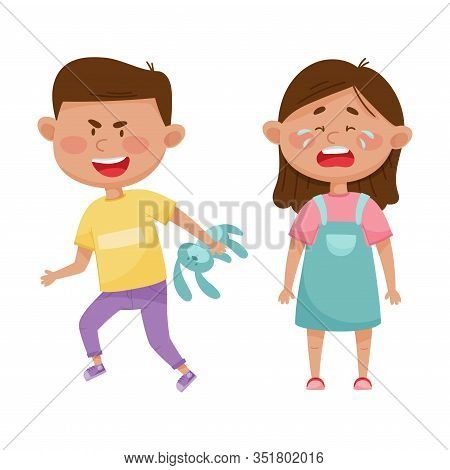 Little Boy With Grin On His Face Taking Away Toy Hare From His Crying Agemate Vector Illustration
