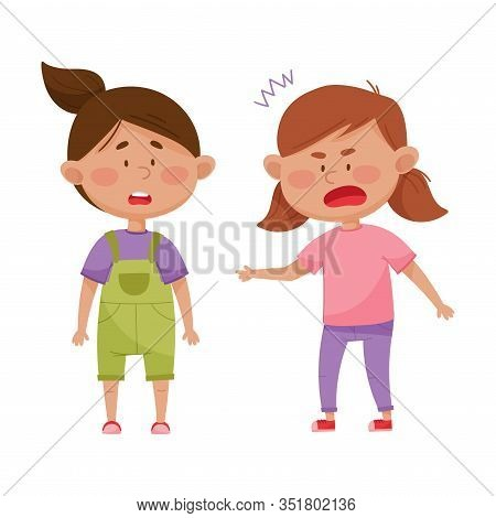Little Girl With Angry Face Standing And Shouting At Her Agemate Vector Illustration