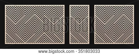 Laser Cut Panel Set. Vector Template With Abstract Geometric Pattern, Lines, Stripes, Chevron. Decor