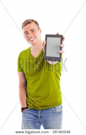 Man Showing Ebook Reader