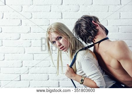 Slavery Concept. Woman And Man Playing Domination Games. Love Relations And Dominating. Concept Of S