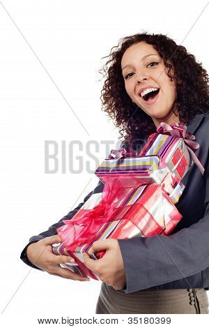 Young Woman With Gift Isolated