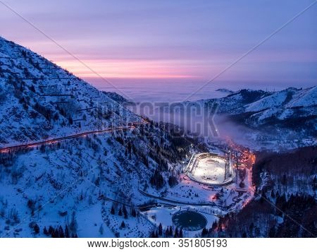 Almaty, Kazakhstan - February 19, 2020: View Of The Medeo Ice Rink Late At Night. Winter In The Moun
