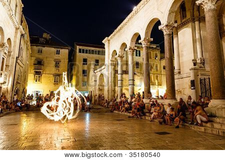 Split, Croatia - July 2: Fire Show At Peristyle Of Diocletian Palace On July 2, 2012 In Split, Croat