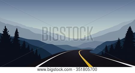 Asphalt Highway Between The Mountains Travel Landscape Vector Illustration Eps10