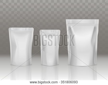 Foil Or Plastic Sachet Pouch Set With Valve And Seal Isolated On Background. Different Size Doy Pack
