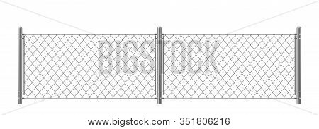 Wire Fence Isolated On White Background. Two Segments Rabitz Gate With Rhombus Cell, Perimeter Prote