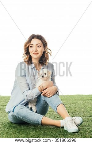 Smiling Woman With Havanese Puppy Looking Away Isolated On White