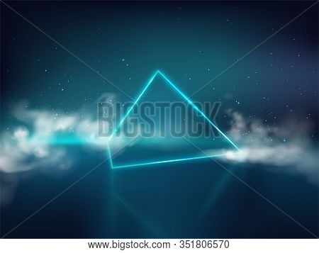 Blue Laser Pyramid Or Prism On Reflective Surface And Starry Background With Smoke Or Fog 3d Realist