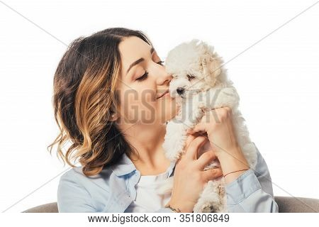 Smiling Woman Holding Cute Havanese Puppy Isolated On White