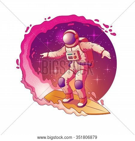Astronaut In Spacesuit Standing On Surfboard And Surfing In Milky Way Stars, Having Fun In Outer Spa