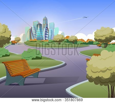 Illustration Of Green Parkland With Trees, Bushes In Cartoon Style. Lawn With Benches And Modern Bui