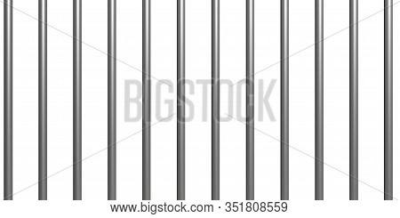 Jail Bars On White Background, Texture. 3D Illustration