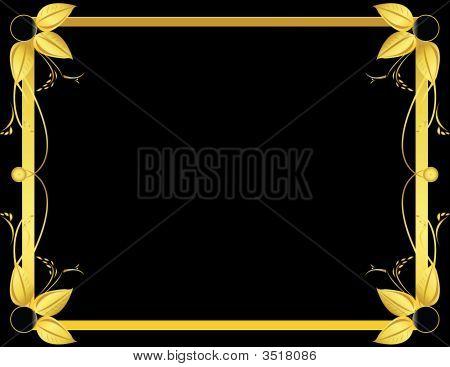 Gold And Black Leaf Background