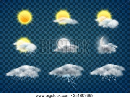 Day And Night Weather Forecast App Realistic Icons Set Isolated On Background. Sun And Moon In Cloud