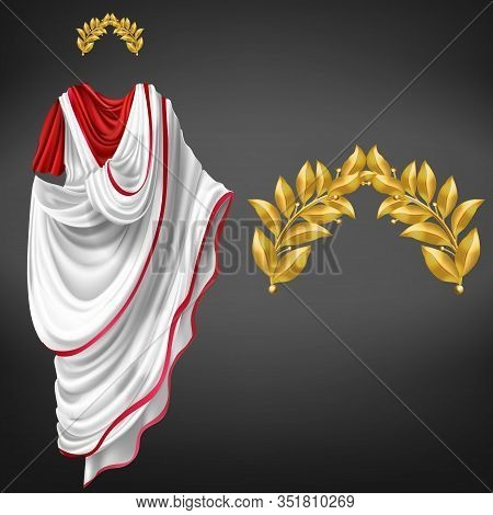 Ancient White Toga On Red Tunic And Golden Laurel Wreath 3d Realistic Isolated On Black Background.