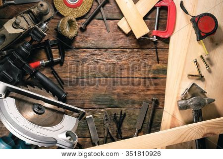 Carpentry Concept Background With Copy Space. Top View. Work Tools On Wooden Background.