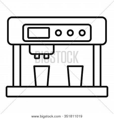 Cappuccino Machine Icon. Outline Cappuccino Machine Vector Icon For Web Design Isolated On White Bac