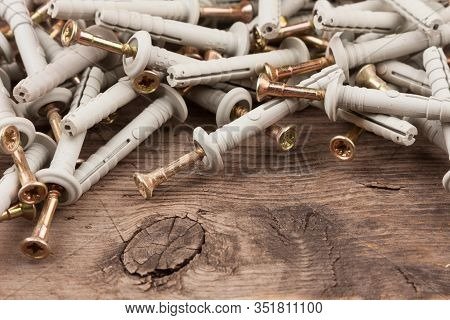 Set Of Dowels And Nails. Dowels For Fastening In Concrete. Quick Installation Components