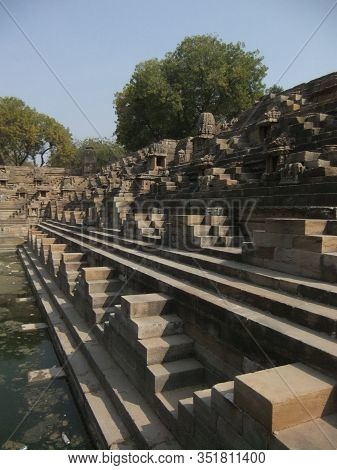 Stairs Of Ancient Sun Temple Of India. Modhera Gujrat