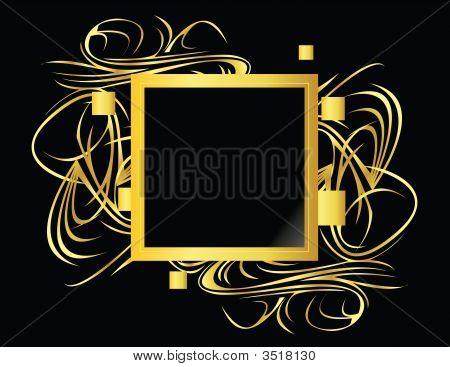 Gold Black Square Element